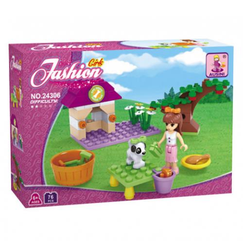 AUSINI Girls Fashion τουβλάκια κατασκευής σπιτάκι για σκυλάκι 76 τεμ. 24306 - 1158