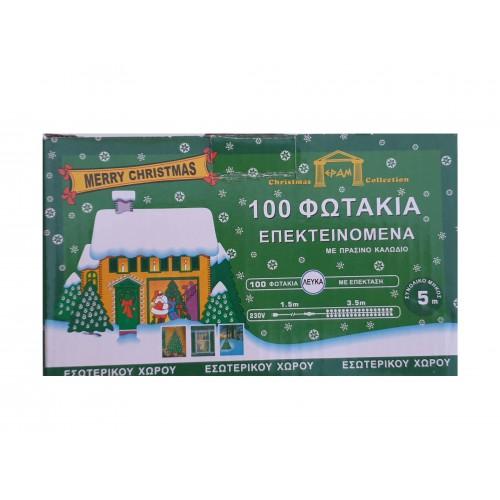 Χριστουγεννιάτικα λαμπάκια ΕPAM εσωτερικού χώρου 100 λευκά επεκτεινόμενα - 1518