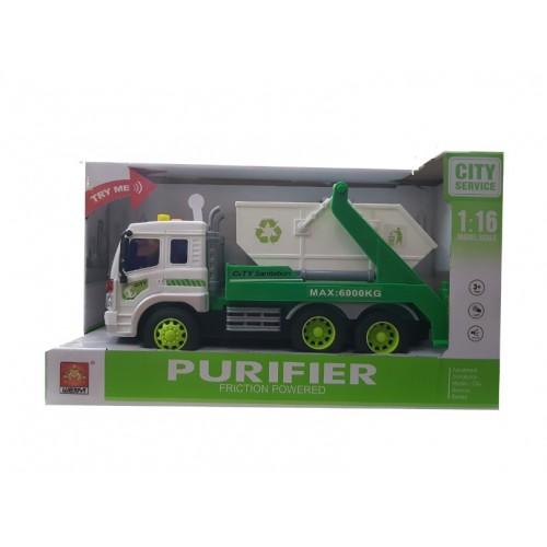 Φορτηγό ανακύκλωσης 1:16 με ήχο και φως City Sanitation - 1289 - Πράσινο Λευκό - ΟΕΜ
