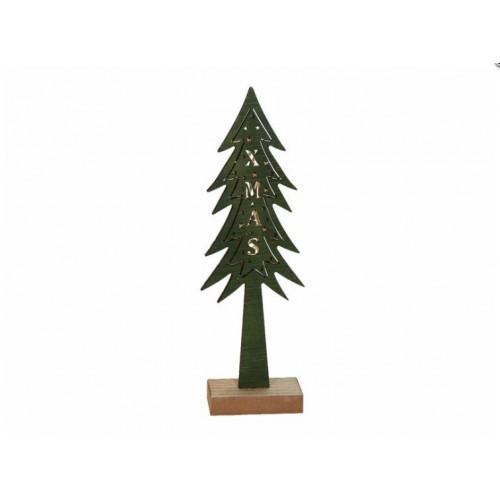 Χριστουγεννιάτικο διακοσμητικό ξύλινο δέντρο με φώς πράσινο 4750 - 1504