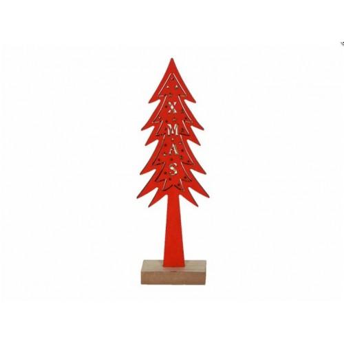 Χριστουγεννιάτικο διακοσμητικό ξύλινο δέντρο με φώς κόκκινο 4750 - 1 - 1505