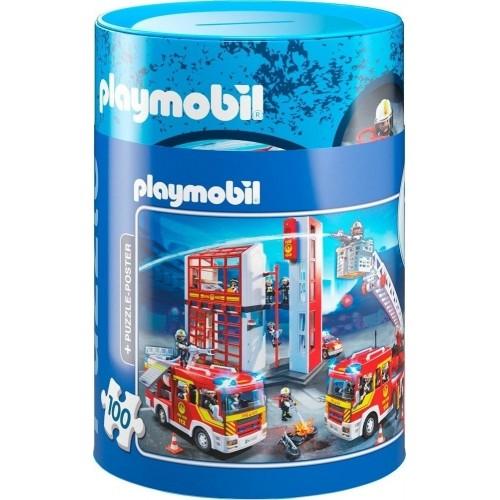 Schmidt  Κουμπαράς - Πάζλ  Playmobil Πυροσβεστική 100 κομμάτια 56914 - 1672